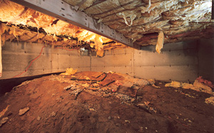 Crawl Space Moisture Barrier before in Rochester