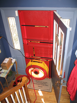 Blower door test for  homes