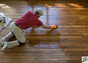 A Farmington installation of hardwood flooring.