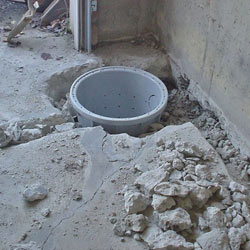 Placing a sump pit in a Hilton home