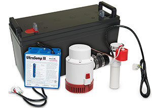 a battery backup sump pump system in