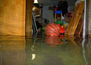 A flooded basement bedroom in Seneca Falls