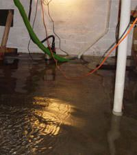 Several feet of floodwaters in a Farmington basement