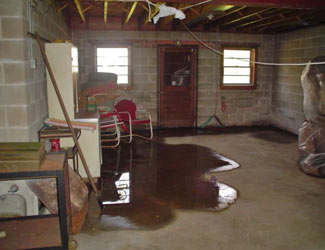 a flooded basement floor in a Ontario home