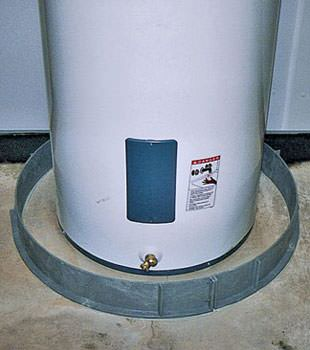 An old water heater in , NY with flood protection installed
